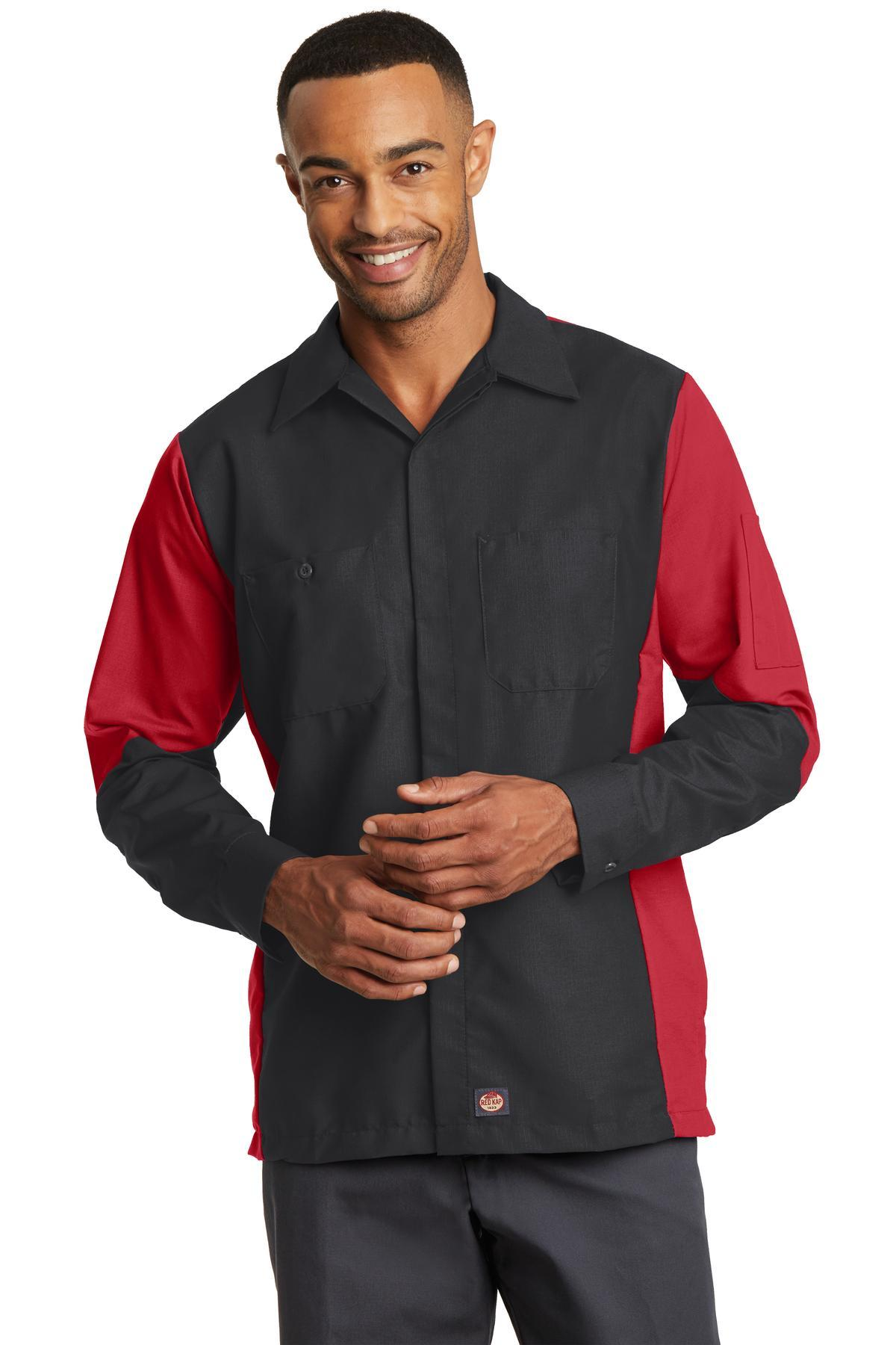 Red Kap Long Sleeve Ripstop Crew Shirt. SY10